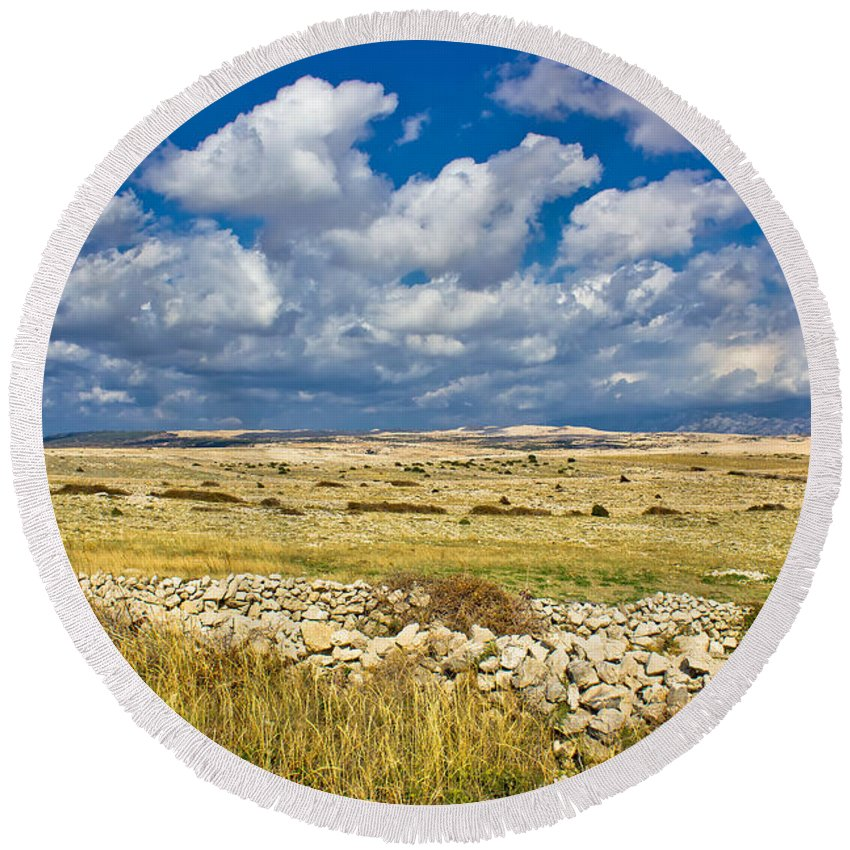 Field Round Beach Towel featuring the photograph Summer Landscape Of Pag Island by Brch Photography