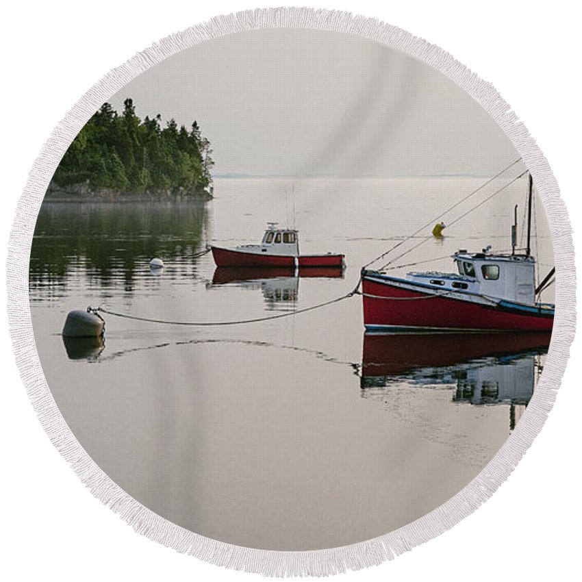 Lubec Round Beach Towel featuring the photograph Summer Morning Stillness by Marty Saccone