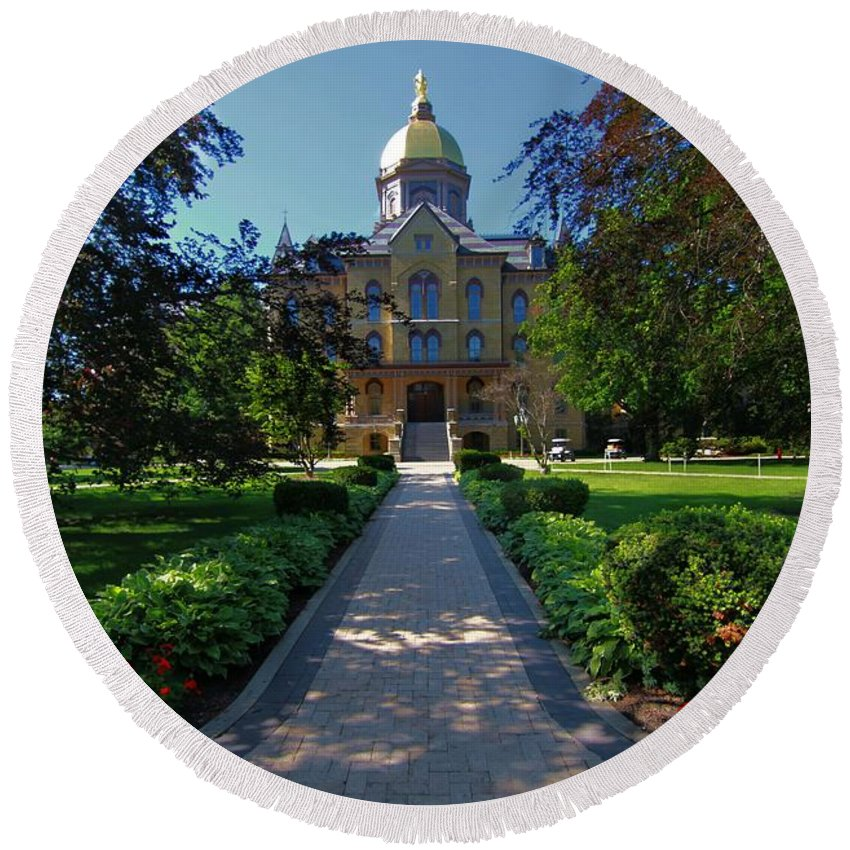 Summer On Notre Dame Campus Round Beach Towel featuring the photograph Summer On Notre Dame Campus by Dan Sproul