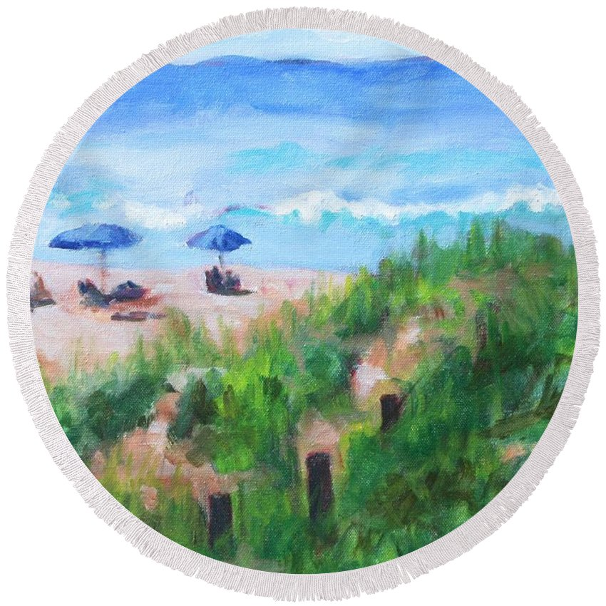 Beach Round Beach Towel featuring the painting Summer On The Beach by Jan Bennicoff