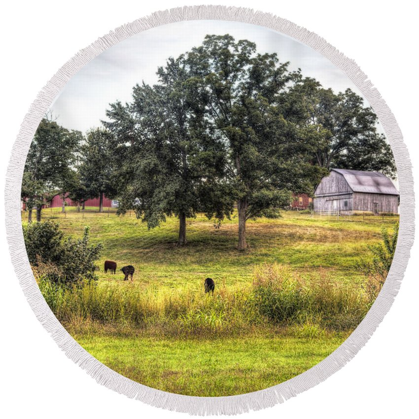 2013 Round Beach Towel featuring the photograph Summer On The Farm by Larry Braun