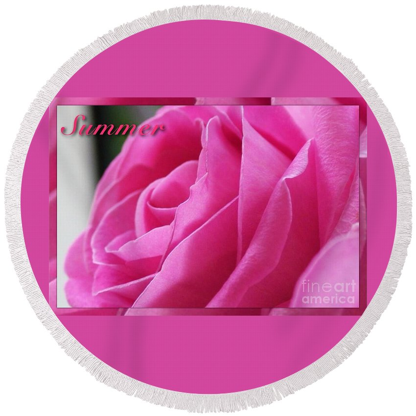 Roses Round Beach Towel featuring the photograph Summer Rose by Joan-Violet Stretch
