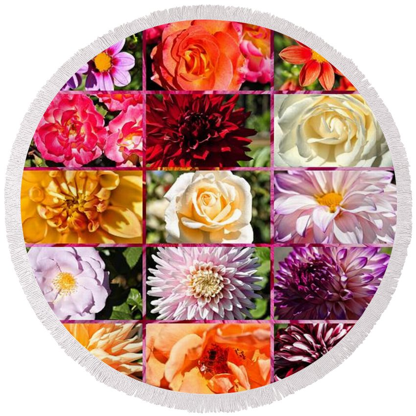 Rose Round Beach Towel featuring the photograph Summer Roses And Dahlias 2013 by Tikvah's Hope