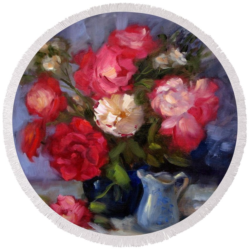 Red Roses Round Beach Towel featuring the painting Summer Roses by Karin Leonard