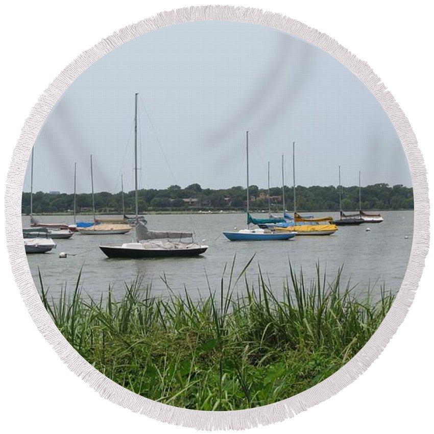 Sailboats Round Beach Towel featuring the photograph Summer Sailboats by Donna Wilson