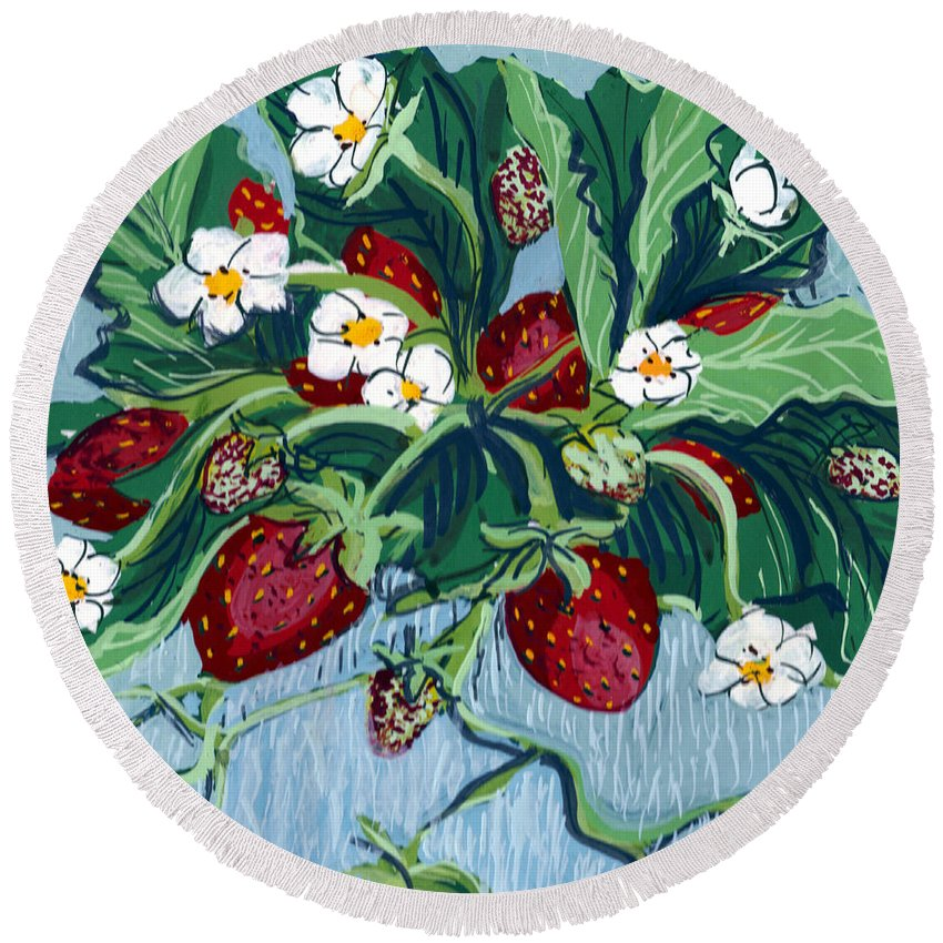 Summer Round Beach Towel featuring the painting Summer Strawberries by Mary Palmer