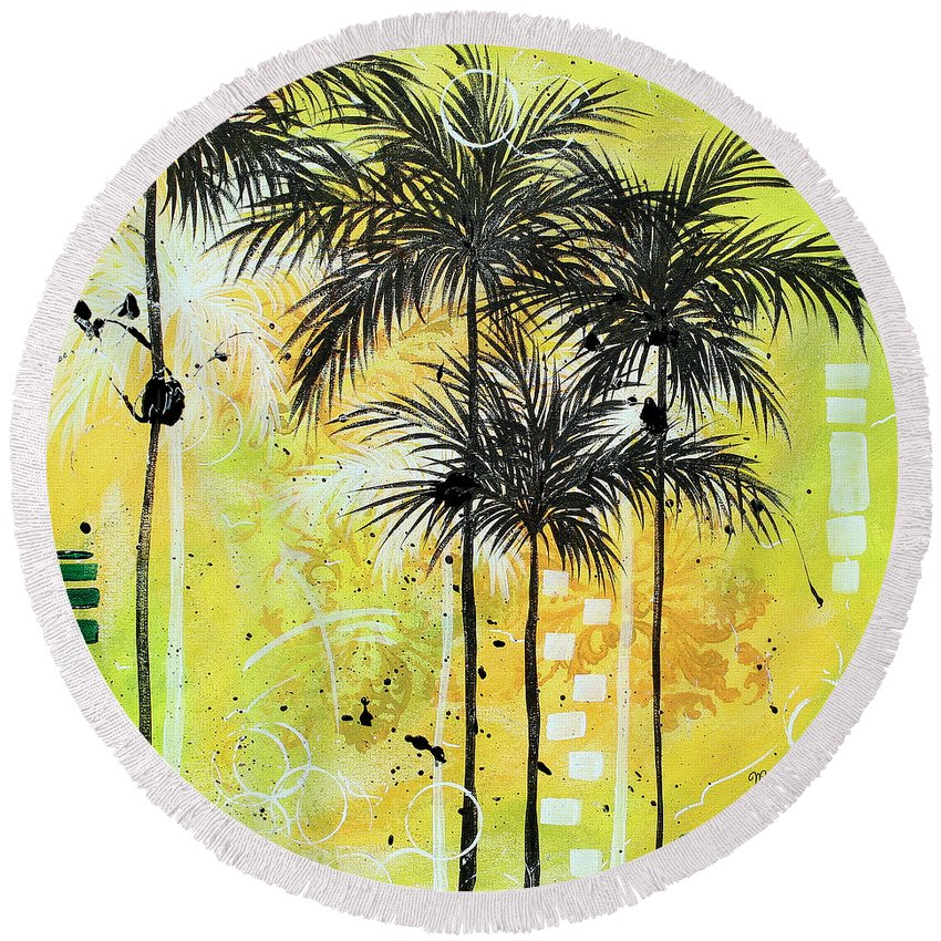 Wall Round Beach Towel featuring the painting Summer Time In The Tropics By Madart by Megan Duncanson