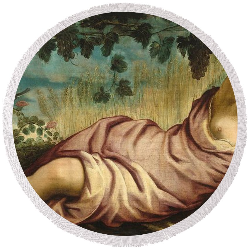 1555 Round Beach Towel featuring the painting Summer by Tintoretto