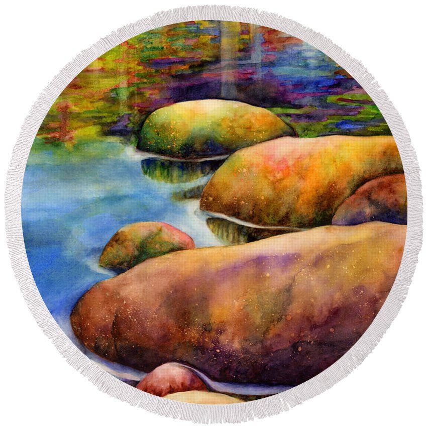 Rocks Round Beach Towel featuring the painting Summer Tranquility by Hailey E Herrera