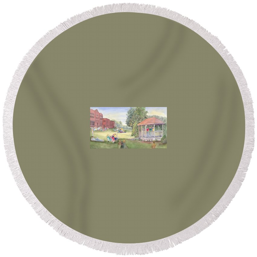 East Hampton Round Beach Towel featuring the painting Summertime At The Gazebo by Katherine Berlin
