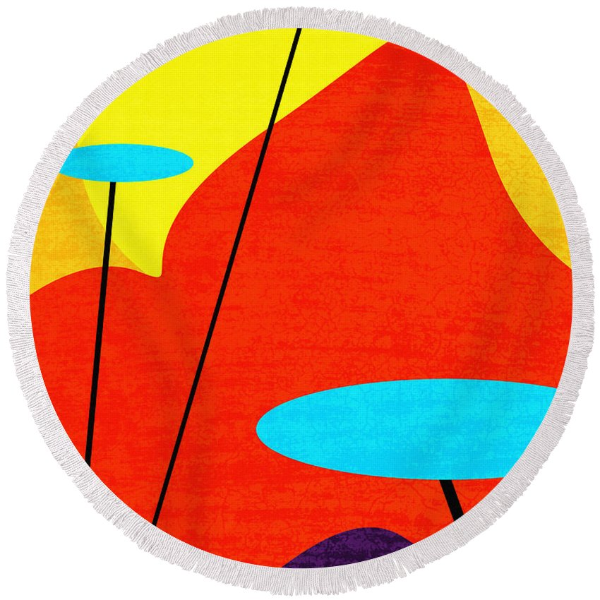 Summertime Blues Round Beach Towel featuring the digital art Summertime Blues by Richard Rizzo