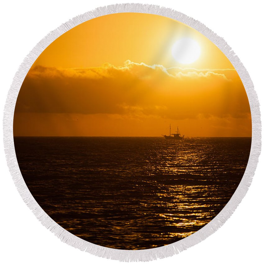 La Palma Round Beach Towel featuring the photograph Sun And Ship by Ralf Kaiser