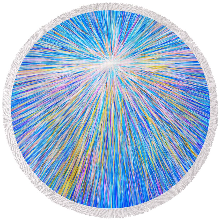 Abstract Round Beach Towel featuring the painting SUN by Atiketta Sangasaeng