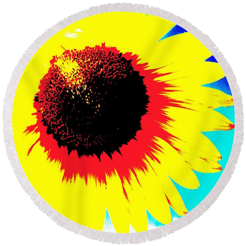 Flowers Round Beach Towel featuring the photograph Sun Flowers by Jeffery L Bowers
