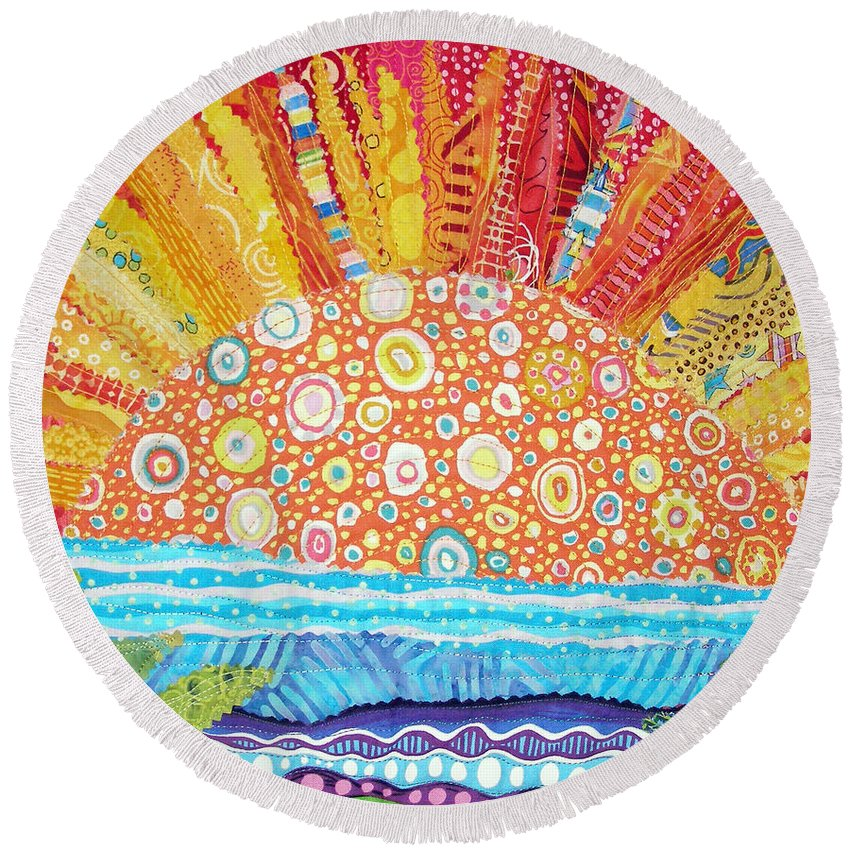 Sunrise Round Beach Towel featuring the tapestry - textile Sun Glory by Susan Rienzo