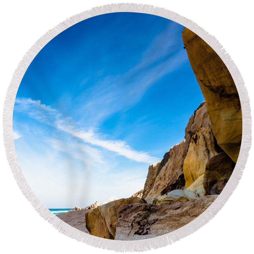 Gold Round Beach Towel featuring the photograph Sun On The Beach by Edgar Laureano