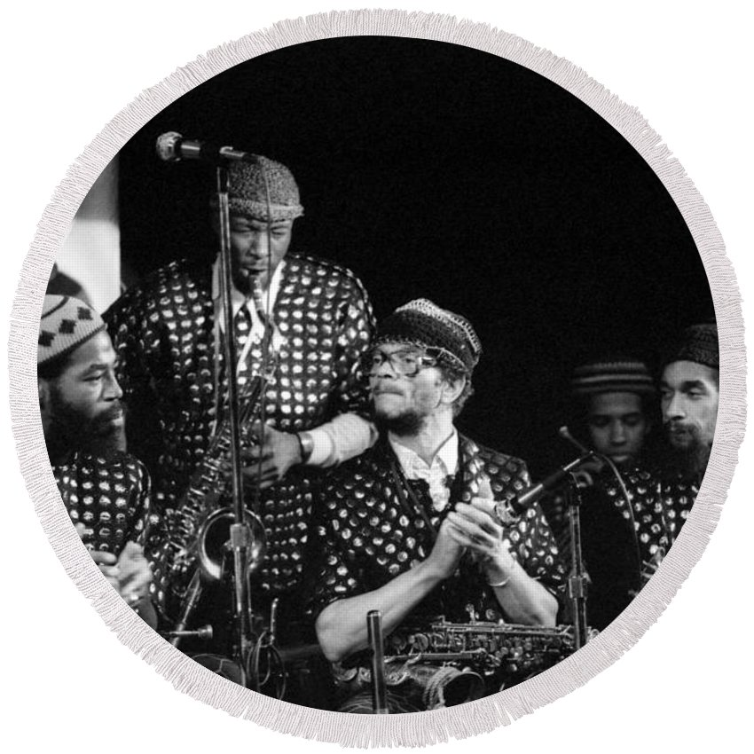 Jazz Round Beach Towel featuring the photograph Sun Ra Arkestra With John Gilmore by Lee Santa