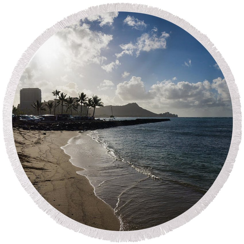 Waikiki Round Beach Towel featuring the photograph Sun Sand And Waves - Waikiki Honolulu Hawaii by Georgia Mizuleva