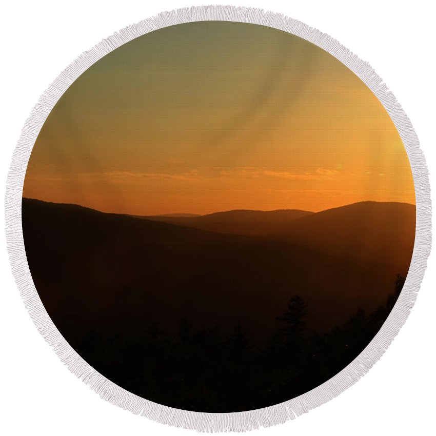 Sunset Round Beach Towel featuring the photograph Sun Sets Over Mount Battie by Karol Livote