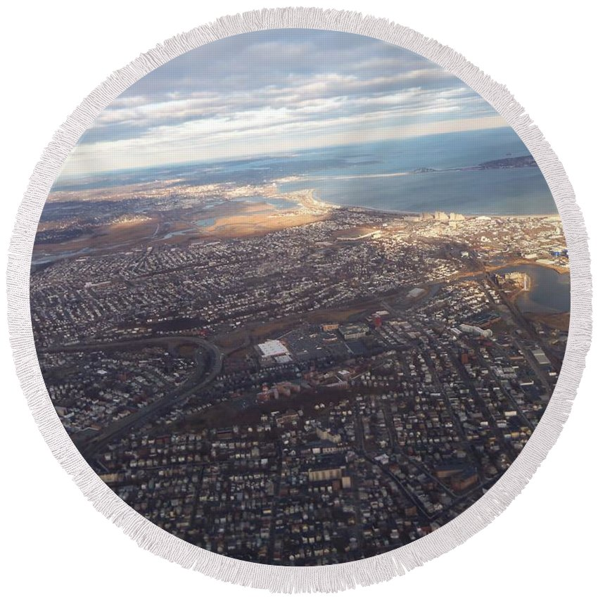 Airplane Round Beach Towel featuring the photograph Sun Stained City by Two Bridges North
