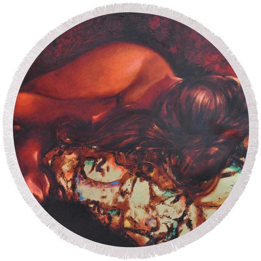 Ignatenko Round Beach Towel featuring the painting Sunbeams3 by Sergey Ignatenko