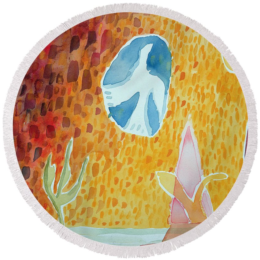Naive Round Beach Towel featuring the photograph Sunburst, 1989 Wc On Paper by Peter Davidson