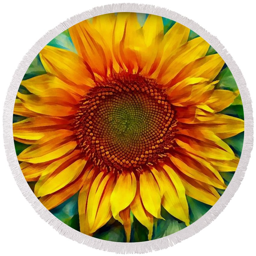 Sunflower Round Beach Towel featuring the photograph Sunflower - Paint Edition by Lilia D