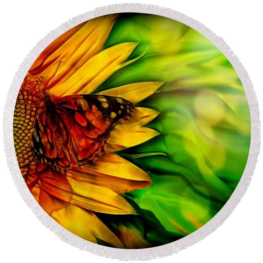 Sunflower Round Beach Towel featuring the digital art Sunflower And Butterfly by Lilia D