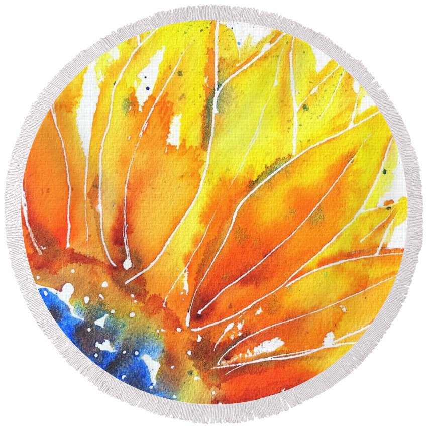 Sunflower Round Beach Towel featuring the painting Sunflower Blue Orange And Yellow by Carlin Blahnik CarlinArtWatercolor