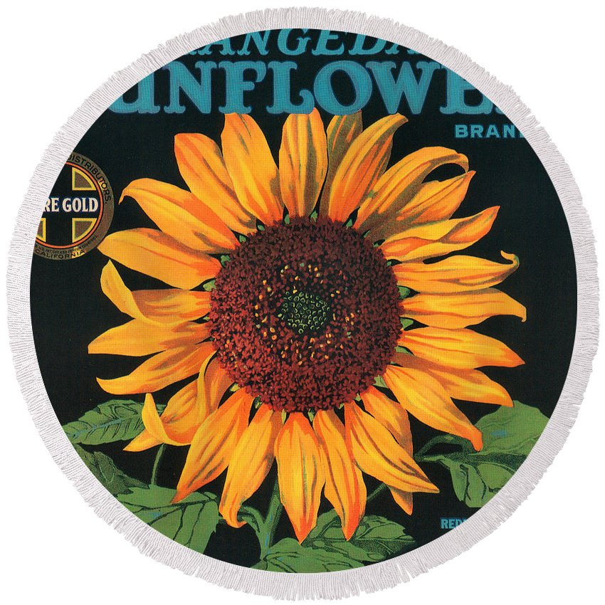 Sunflower Brand Crate Label Round Beach Towel featuring the digital art Sunflower Brand Crate Label by Label Art