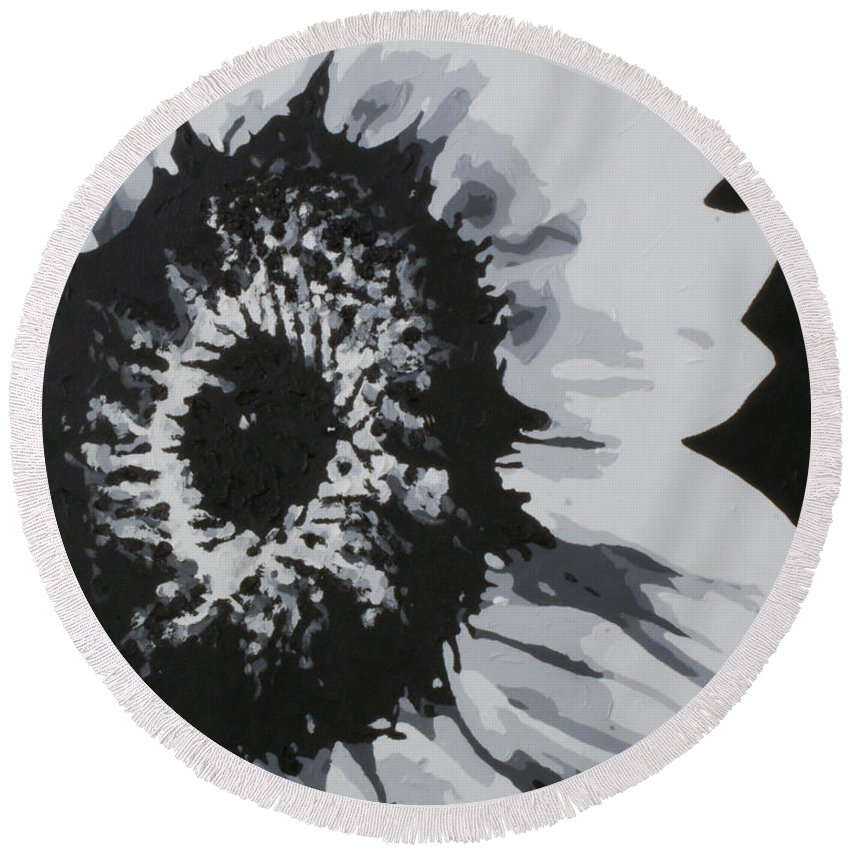 Sunflower Round Beach Towel featuring the painting Sunflower by Katharina Filus