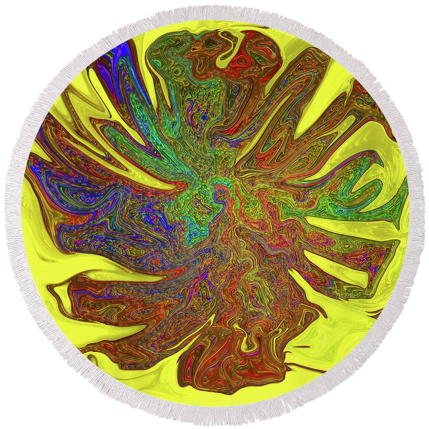 Abstract Round Beach Towel featuring the photograph Sunflower by Kathy Moll