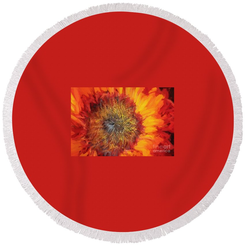 Santa Round Beach Towel featuring the painting Sunflower Lv by Charles Muhle
