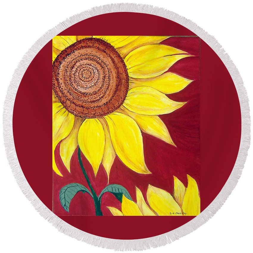 Sunflower Round Beach Towel featuring the painting Sunflower On Red by Lee Owenby