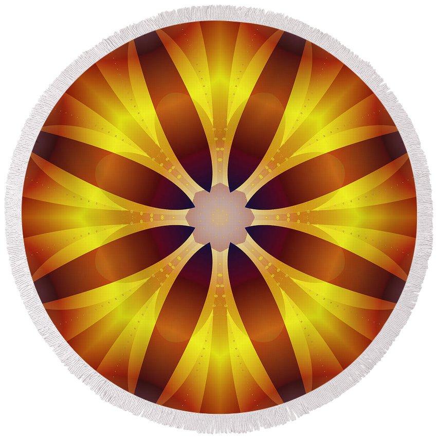 Fractal Kaleidoscope Round Beach Towel featuring the digital art Sunflower Rose by Mario Carini