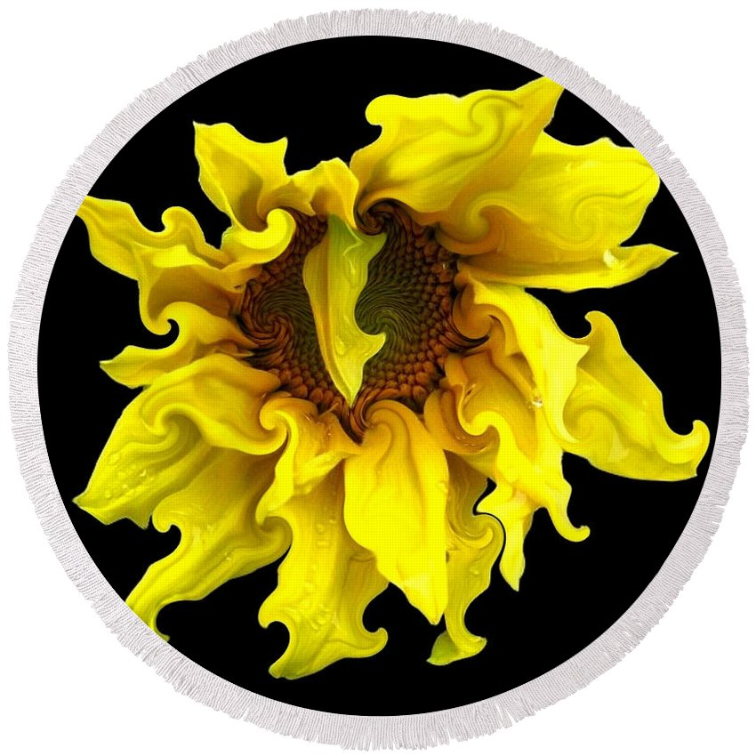 Sunflowers Round Beach Towel featuring the photograph Sunflower With Curlicues Effect by Rose Santuci-Sofranko