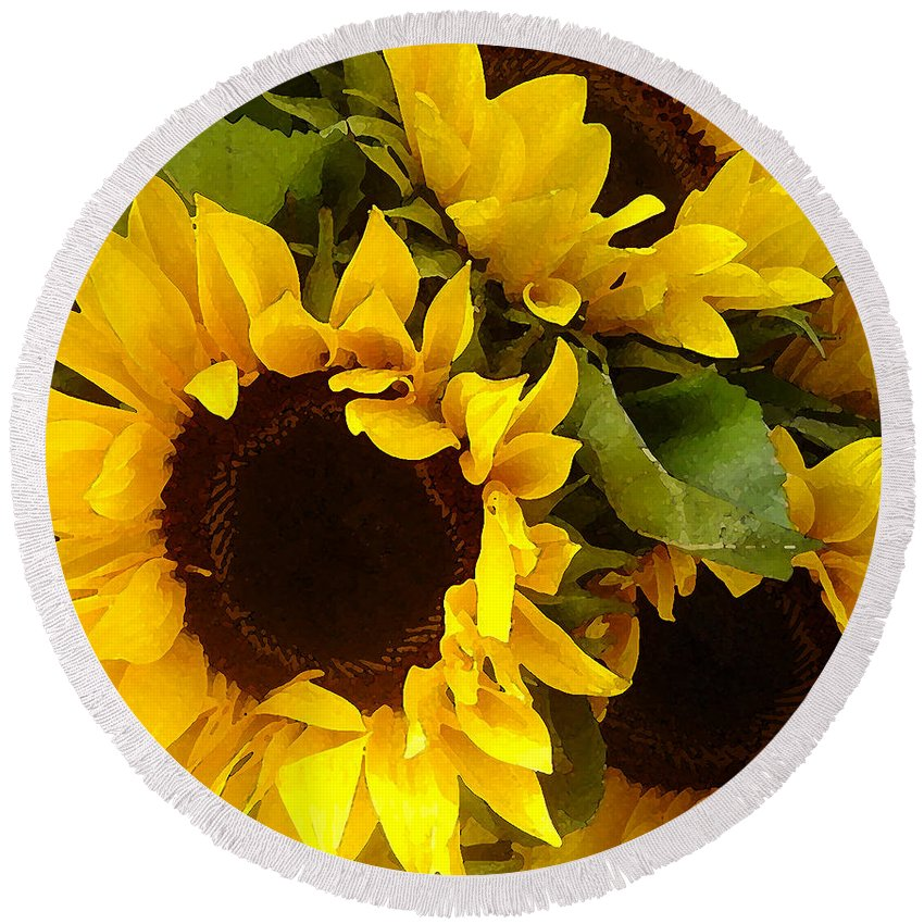 Sunflowers Round Beach Towel featuring the painting Sunflowers by Amy Vangsgard