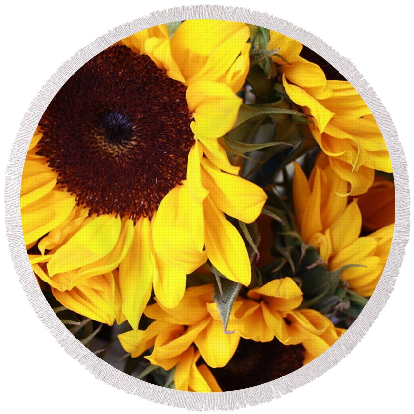 Sunflower Round Beach Towel featuring the photograph Sunflowers by Dora Sofia Caputo Photographic Design and Fine Art