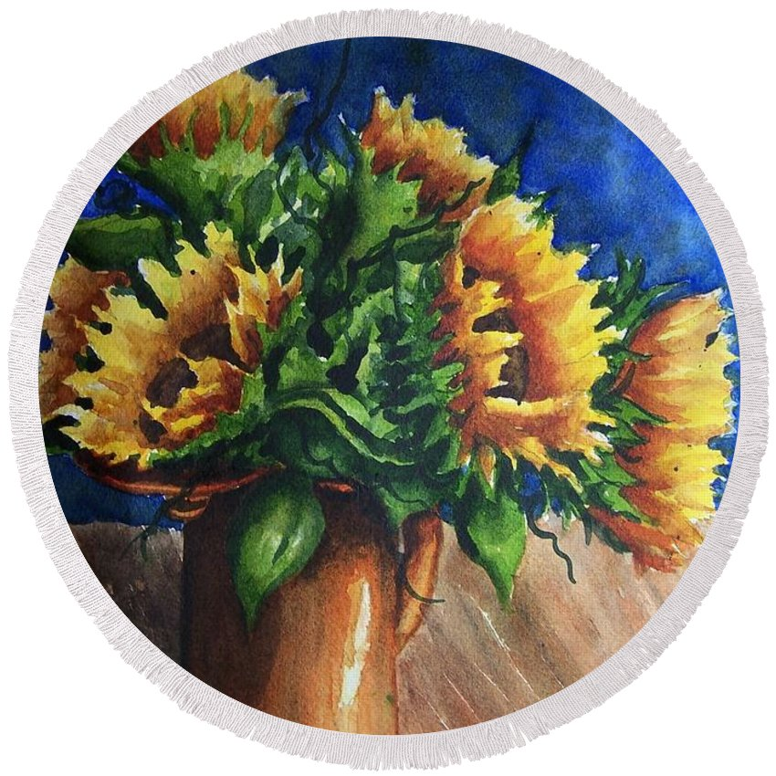 Sunflowers Round Beach Towel featuring the painting Sunflowers In Copper by Conni Reinecke