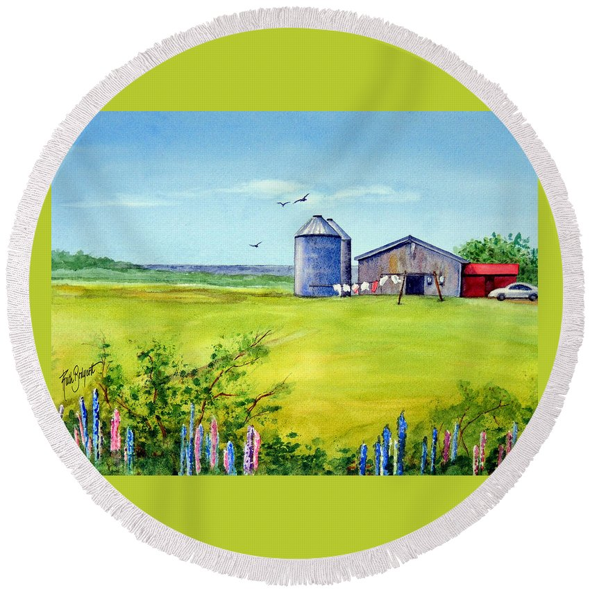 Prince Edward Island Round Beach Towel featuring the painting Sunkissed And Windblown Lupines And Laundry In Pei by Ruth Bodycott