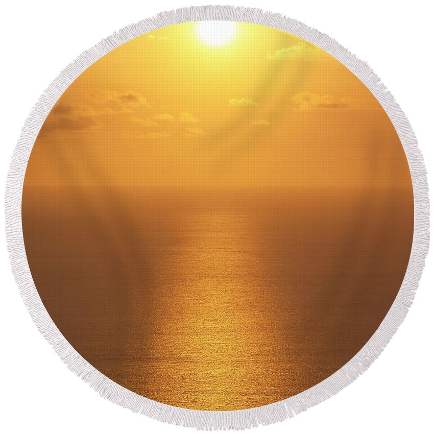 Suset Pictures Round Beach Towel featuring the photograph Sunlight by Athala Carole Bruckner