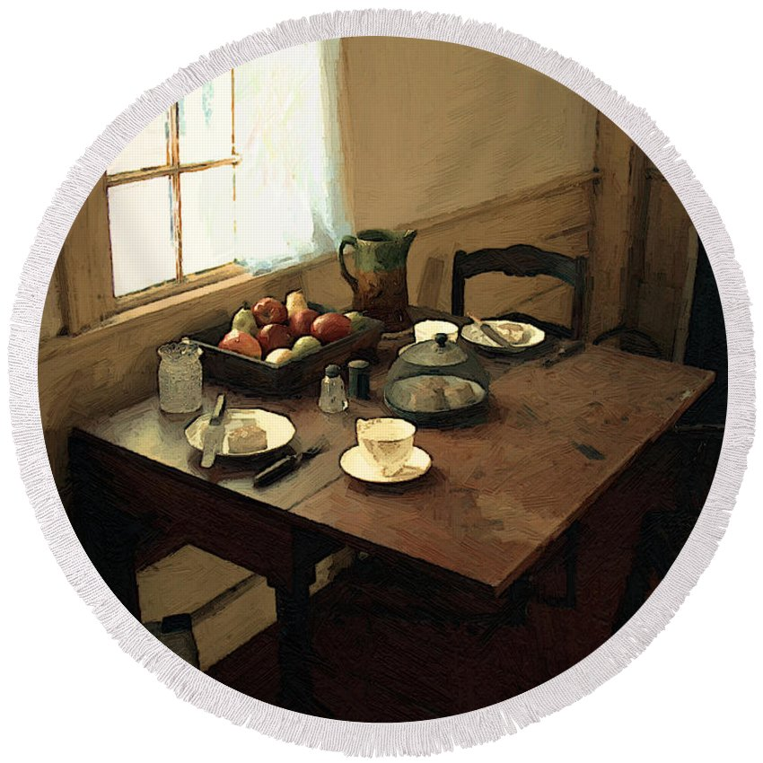 Still Life Round Beach Towel featuring the painting Sunlight On Dining Table by RC deWinter