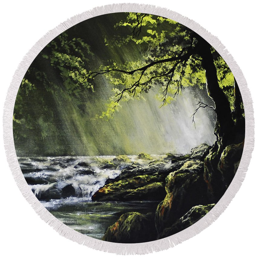 Waterfall Round Beach Towel featuring the painting Sunlit Dream by Marco Antonio Aguilar