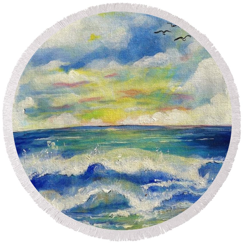 Ocean Round Beach Towel featuring the painting Sunny Day II by Jacalyn Hassler Yurchuck