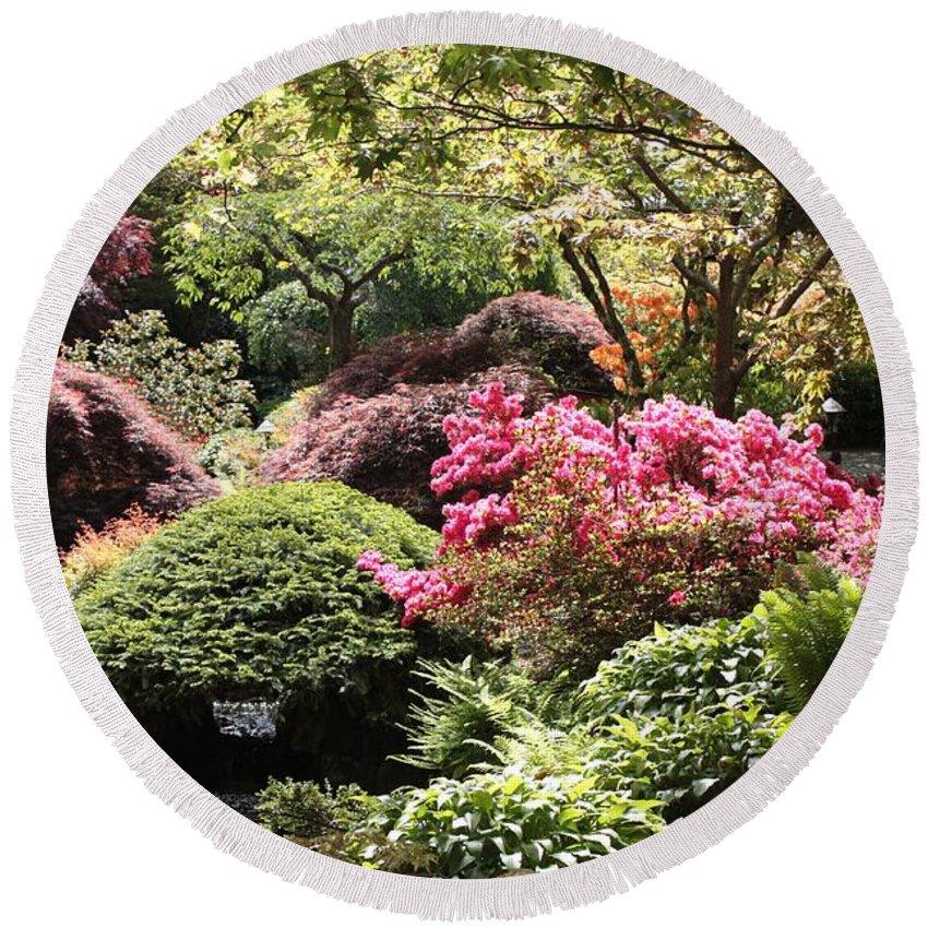 Japanese Garden Round Beach Towel featuring the photograph Sunny Japanese Garden by Carol Groenen