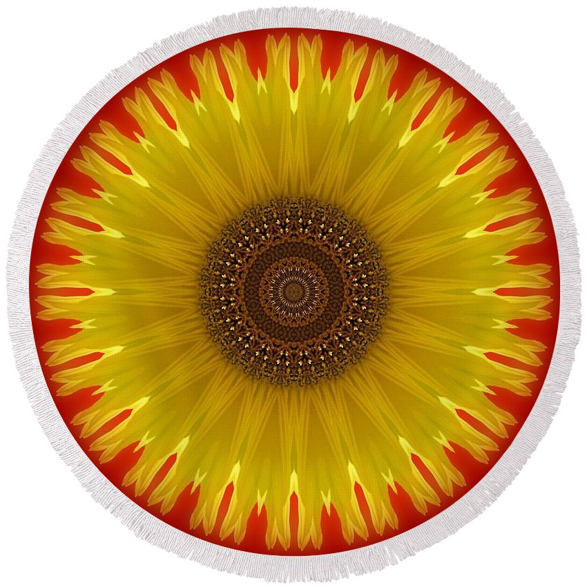 Kaleidoscope Round Beach Towel featuring the photograph Sunny Kaleidoscope by MTBobbins Photography