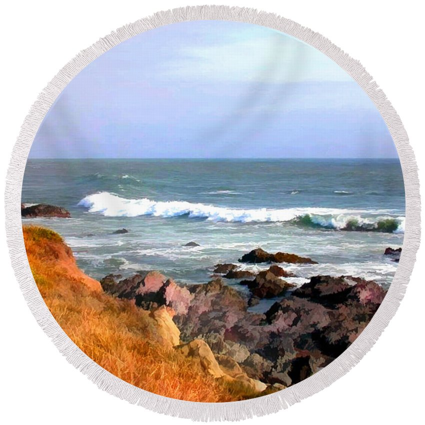 California Round Beach Towel featuring the painting Sunny Ocean Shoreline by Elaine Plesser