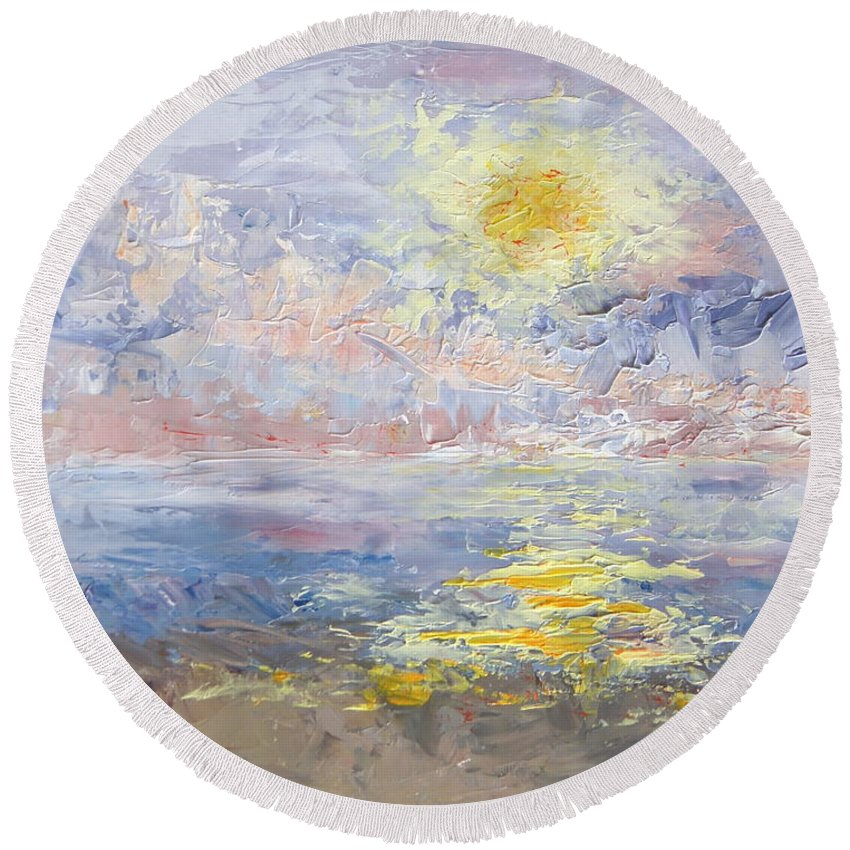 Sunrise Round Beach Towel featuring the painting Sunrise As The Fog Blew In by Mary Haas
