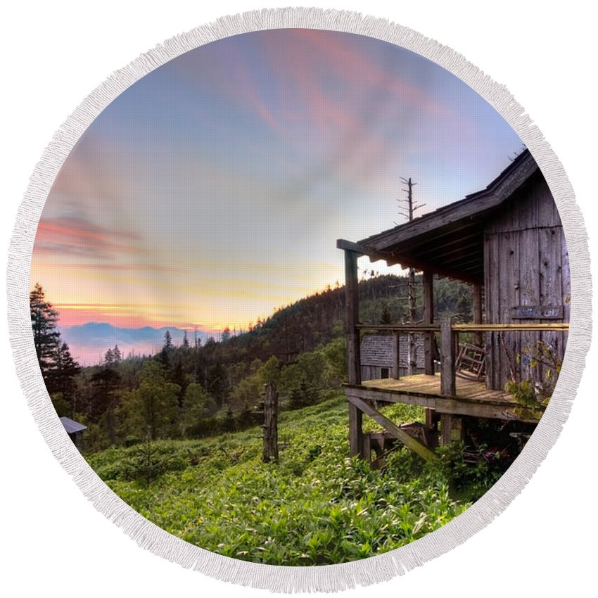 Appalachia Round Beach Towel featuring the photograph Sunrise At Mt Leconte by Debra and Dave Vanderlaan