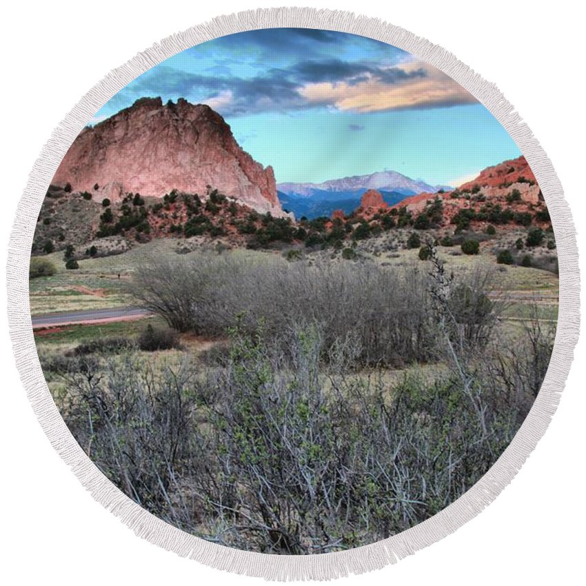 Garden Of The Gods Round Beach Towel featuring the photograph Sunrise At The Gods by Adam Jewell